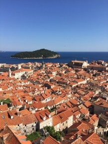 Overlooking the Old Town on the city wall in Dubrovnik, Croatia.
