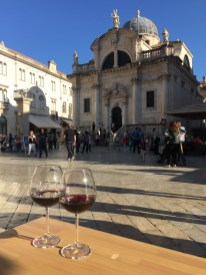 Sipping a Dingač by the St Blaise's Church in Dubrovnik, Croatia.