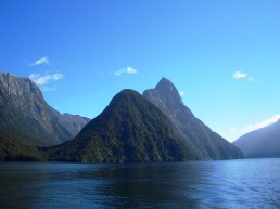 Breathtaken by the spectacular Mitre Peak in Milford Sound, Fiordland National Park, New Zealand.