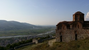 Overlooking the city, by the 13th century Church of the Holy Trinity, in the Berat Castle in Berat, Albania.
