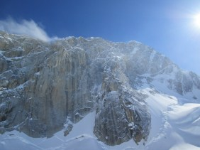 The west wall of Mount Huntington from the Tokositna Glacier
