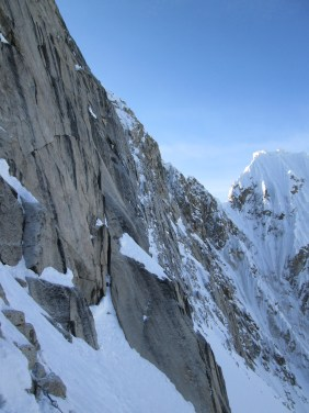 Looking up the crux pitches on the Phantom Wall.