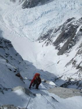 Clint following the crux free climbing pitch on the Phantom Wall