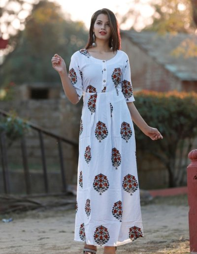 Block Print White Kurti with Rayon Fabric