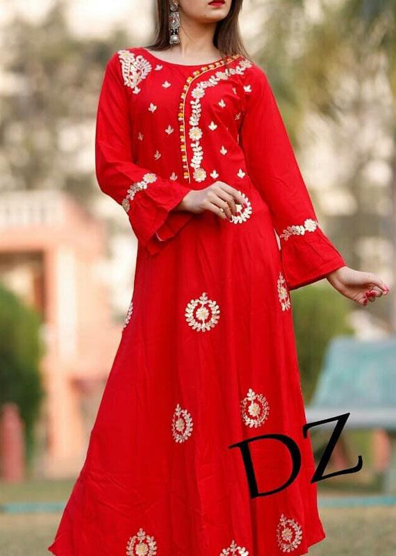 Trendy rayon gown with gota patti work [1083]