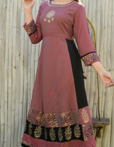 Anarkali style gown in rayon fabric [AM-1151]