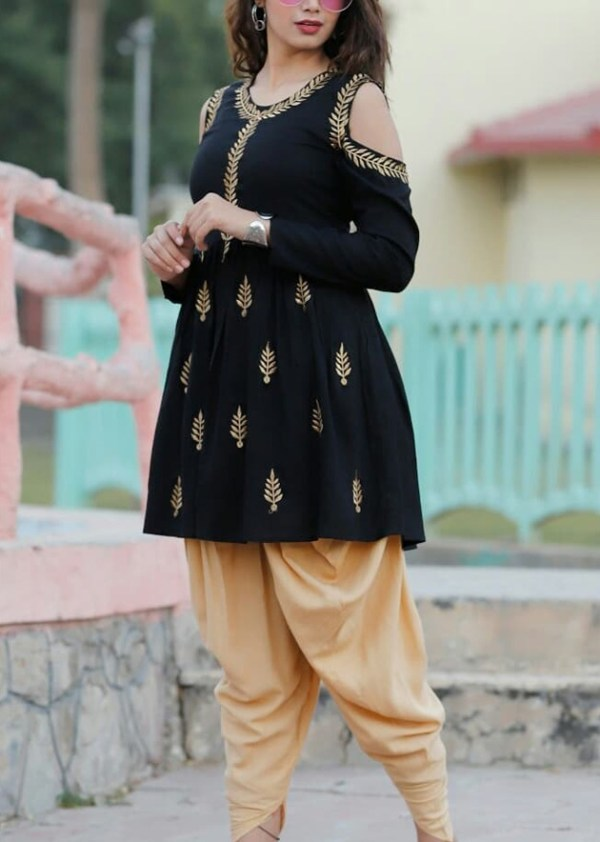 Beautiful rayon black kurti with gotta work