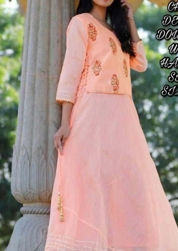 Chaderi kurti, sarpet jacket with side dori [AM-1161]
