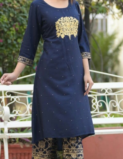 Kurti Palazzo set with embroidery and gold print