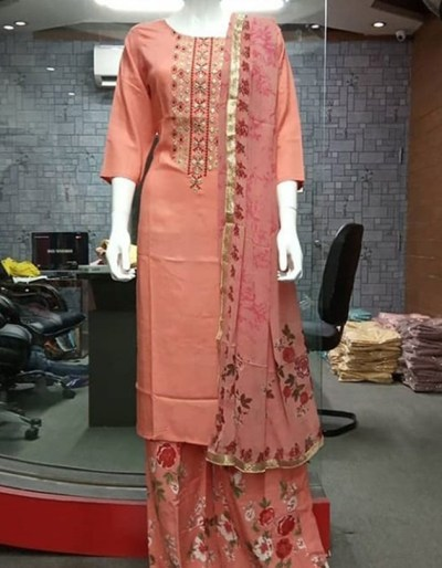 Kurti and palazzo in pure camber rayon with aari handwork
