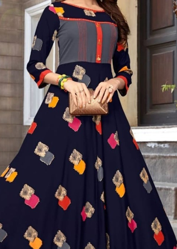 Long rayon kurti in vibrant colour combination
