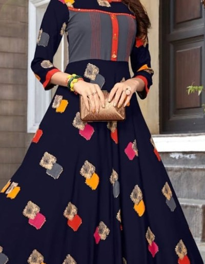 Long rayon kurti in vibrant colour combination