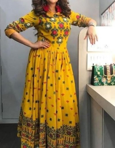 Mustard colour printed kurti in rayon fabric