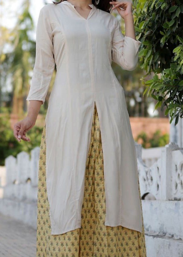 Rayon and cotton kurti with skirt