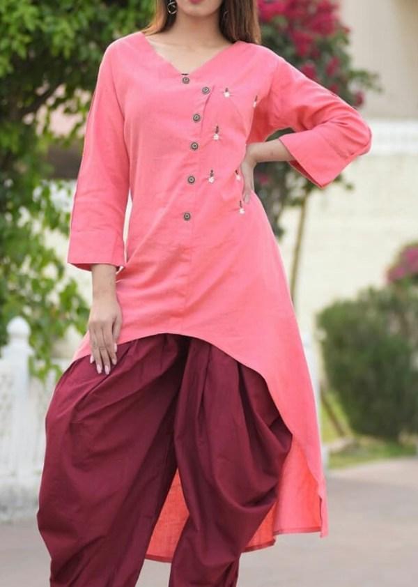 Rayon flex kurti with cotton dhoti