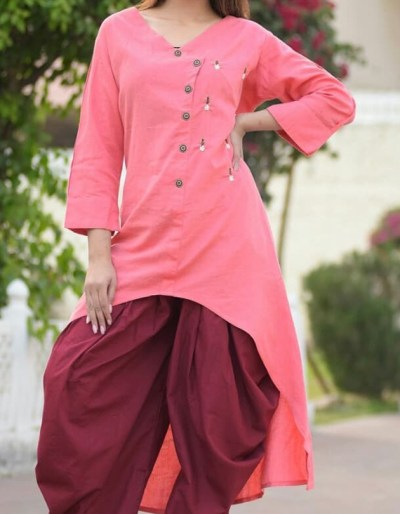 Rayon flex kurti with cotton dhoti