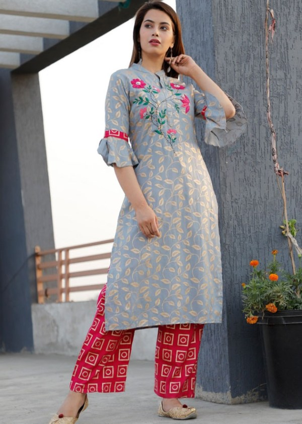 Rayon kurti, pant with kasheeda work [AM-1190]