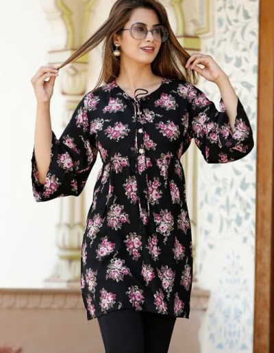 Rayon kurti top with beautiful floral designs