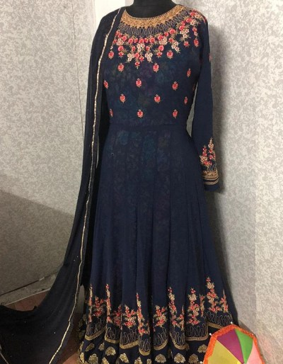 Semi-stitched faux georgette kurti with dupatta