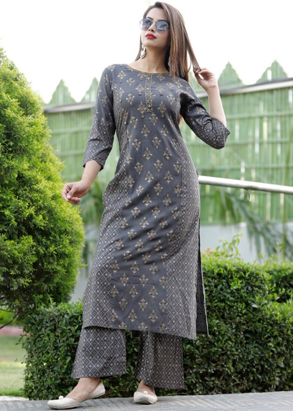 Gold printed, adda work kurti and palazzo in two colours