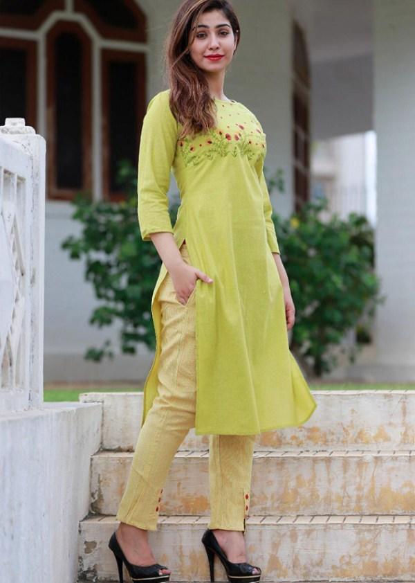 South Cotton green kurti and pant set