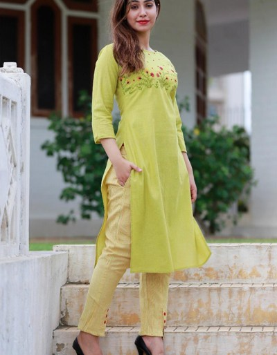 South Cotton green kurti and pant set