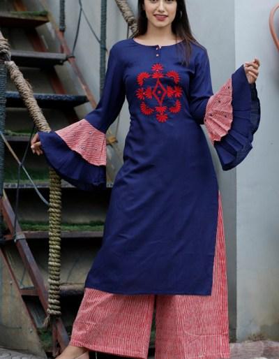 Rayon slub dark blue kurti with cotton palazzo