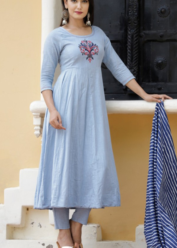 cotton slub kurti pant dupatta set hand embroidery