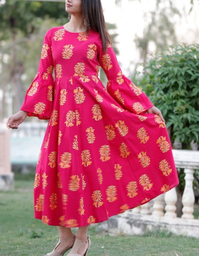 bell sleeves long kurti gold printed