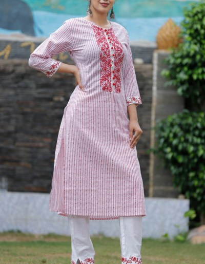 South cotton stiped straight kurti