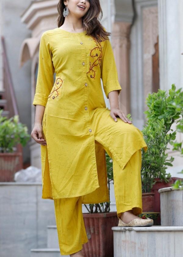 Yellow kurti-pant set