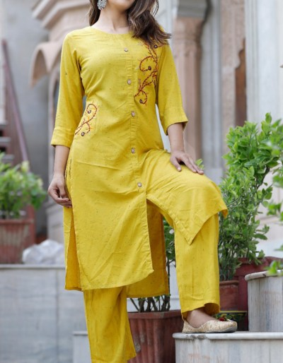 Yellow kurti-pant set