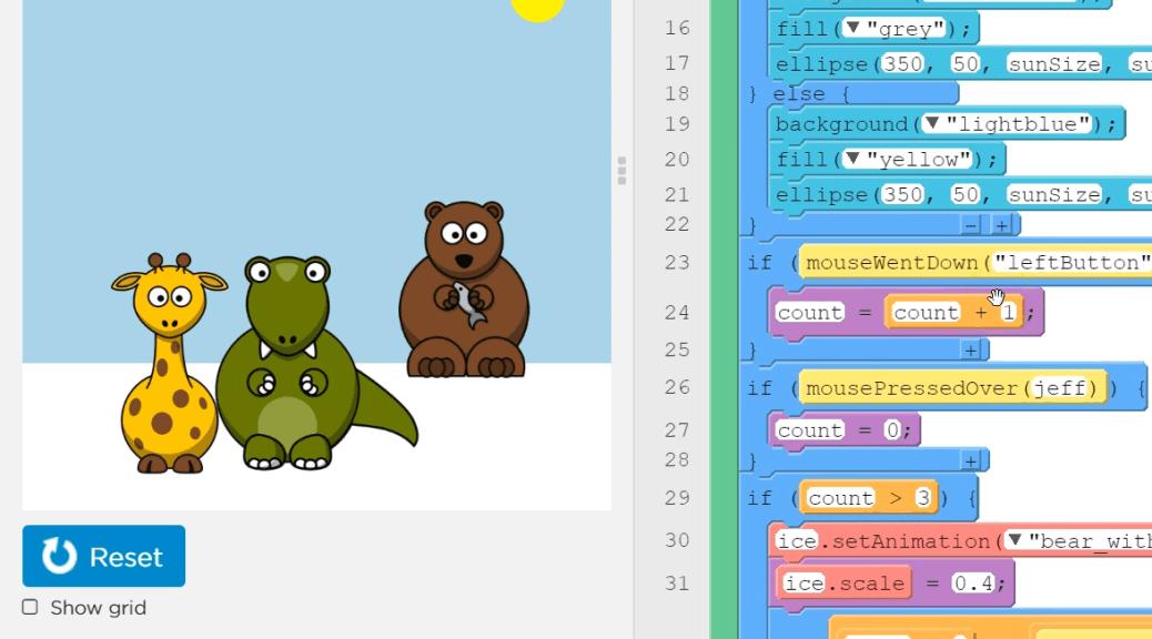 interactive card tutorial screenshot of card