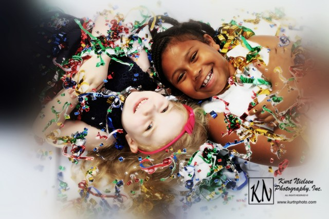 child's confetti photo shoot by Kurt Nielsen Photography
