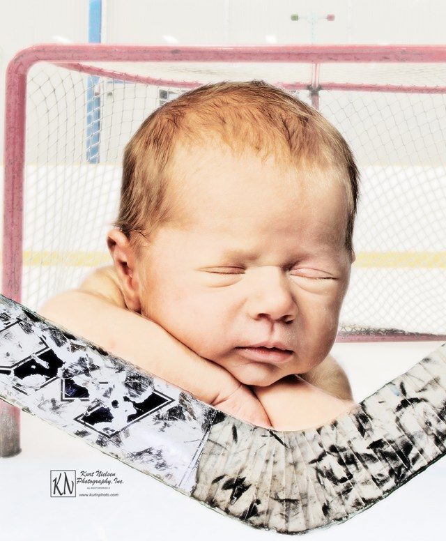newborn photography with a hockey theme
