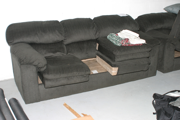 dark green couch with matching love seat for sale