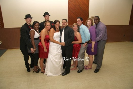 Group photo at end of wedding reception