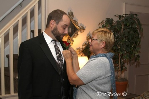 Groom's Mother Pinning on Boutonniere