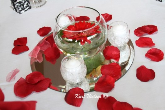 Centerpieces with Floating Flowers
