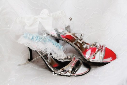 Bride's Shoes and Garters Photos