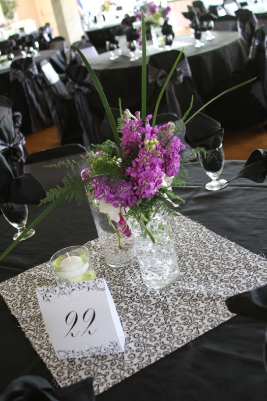 Purple flowers for centerpiece