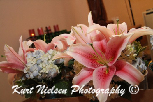 asiatic lilies at church wedding