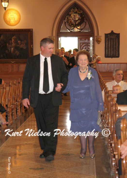 grandmother entering church for wedding