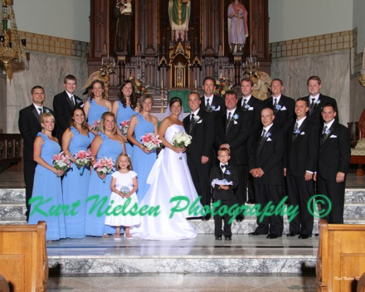 formal bridal party photos in the church