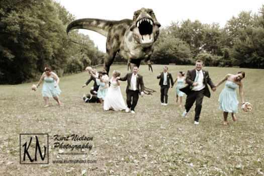 Dinosaur chasing wedding party