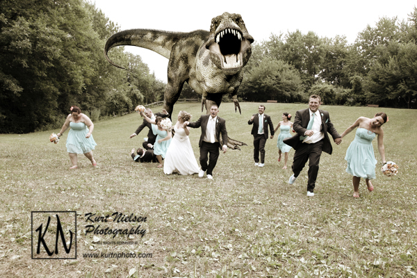 Dinosaur chasing wedding party