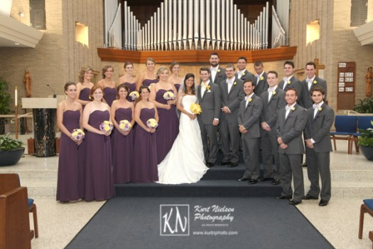 formal church wedding photos of bridal party