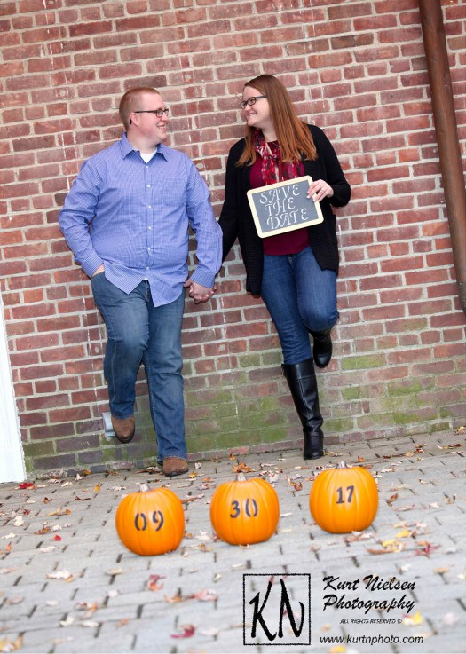 save the date fall engagement photo