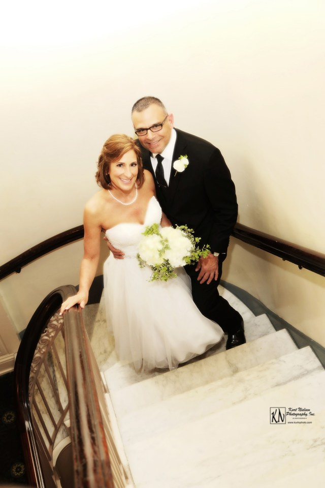 wedding photos on the staircase
