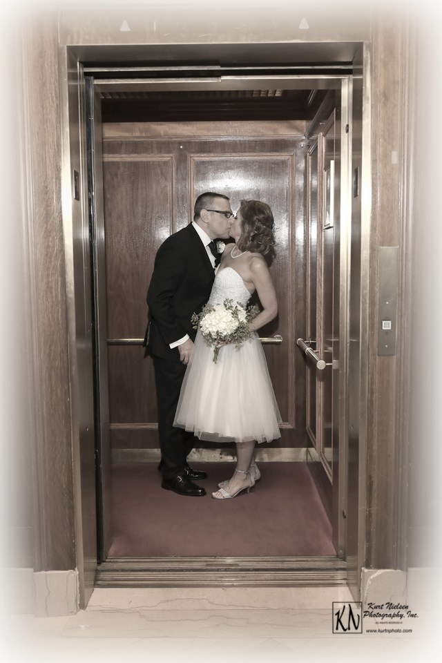 elevator wedding photography